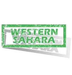 Green outlined western sahara stamp vector