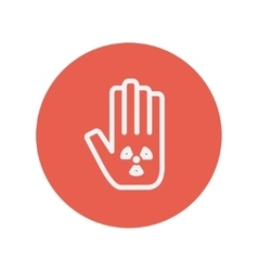 Hand and some object thin line icon vector