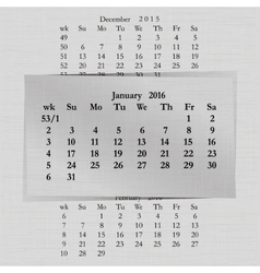 Calendar month for 2016 pages january vector