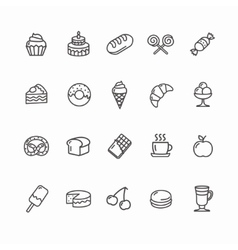 Bakery and pastry icons set vector