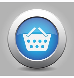 Blue metal button with shopping basket vector