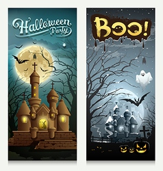 Happy halloween houses collections banner vector