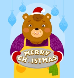 Bear with christmas cookies vector
