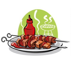 Grilled meat and ketchup vector
