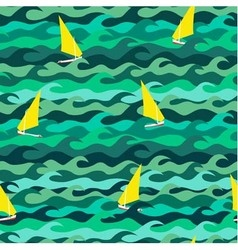 Seamless pattern made of sea waves and yachts vector