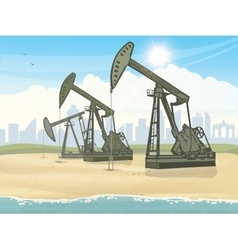 Oil derrick industrial machine vector