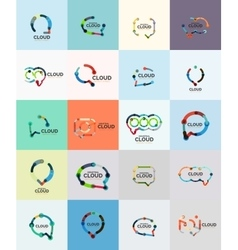 Set of flat linear design speech cloud logos talk vector