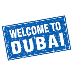 Dubai blue square grunge welcome to stamp vector