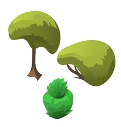Topiary tree and fancy flowerbed icon of plants vector