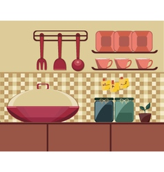 Cooking set in a kitchen vector