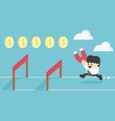 Concept businessman running jumping over vector