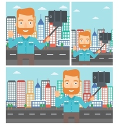 Man making selfie vector