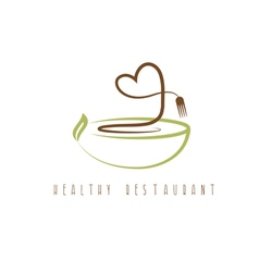 Healthy restaurant concept with heart and plate vector