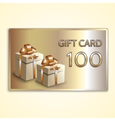 abstract golden gift card with boxes vector image