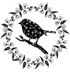 Bird on branch in frame of flowers vector image