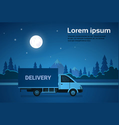 cargo truck van on road at night with mountains vector image vector image