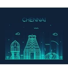 Chennai skyline trendy linear vector