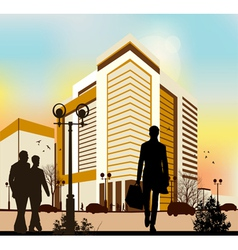 city silhouettes in yellow colors vector image vector image