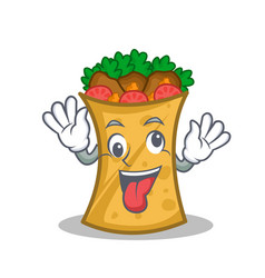 Crazy kebab wrap character cartoon vector