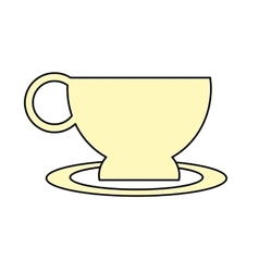 Cup coffe plate break time office icon vector