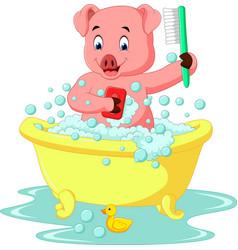 Cute pig bathing time vector