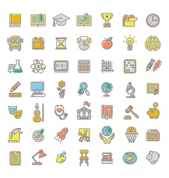 Flat line colorful school subjects icons vector