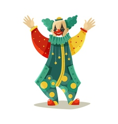 Funny traveling circus clown colorful icon vector