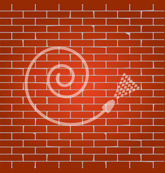 garden hose sign whitish icon on brick vector image