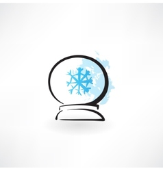 Glass orb grunge icon vector