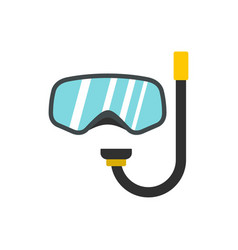 goggles and tube for diving icon flat style vector image