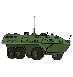Green wheeled troop carrier vector