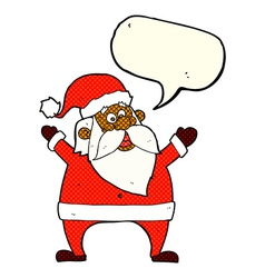 Jolly santa cartoon with speech bubble vector