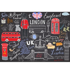 London city doodles elements collection Hand drawn vector image vector image