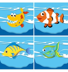 Ocean scene with sea animals underwater vector image vector image