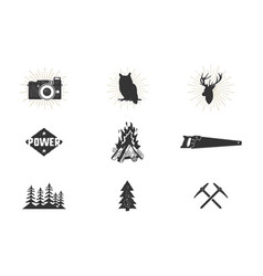 outdoor adventure silhouette icons set climb and vector image