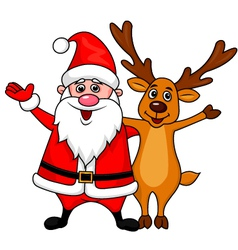 Santa with deer waving hands vector image vector image
