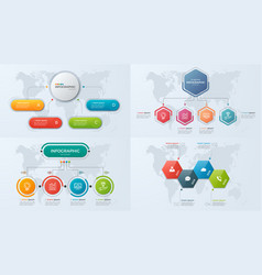 Set of presentation business infographic templates vector
