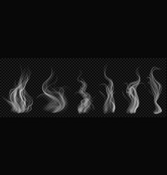 Set of translucent white smoke vector