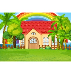 Single house with green lawn vector