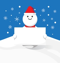 Snowman hold blank label christmas celebration vector