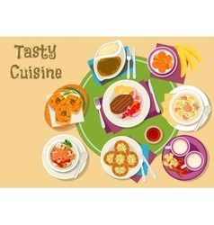 Thai and finnish cuisine dishes with dessert icon vector