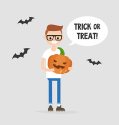 Trick or treat halloween young character holding vector