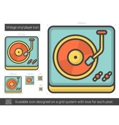 Vintage vinyl player line icon vector