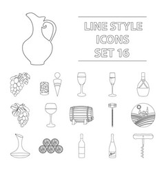 wine production set icons in outline style big vector image vector image