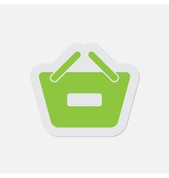 Simple green icon - shopping basket minus vector