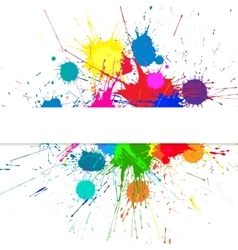Banner with bright ink color blots vector