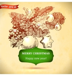 Christmas and new year holidays hand drawn vector