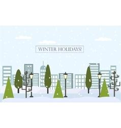 Chrismas winter flat landscape background new vector