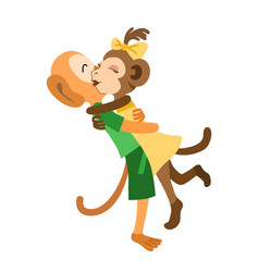 two monkeys meet and hug each other vector image
