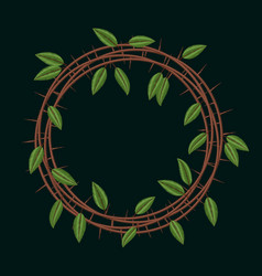 Embroidery blackthorn branches and leaves frame vector